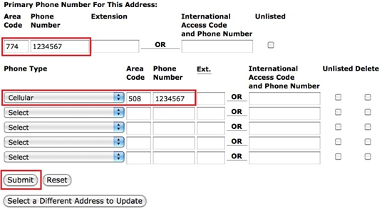 Update Address and Phone