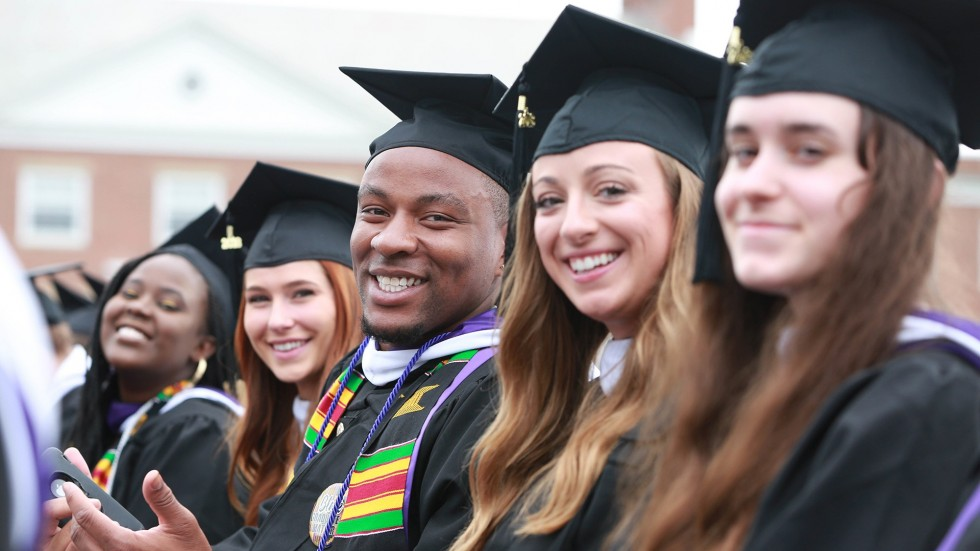 Students at Commencement in 2018