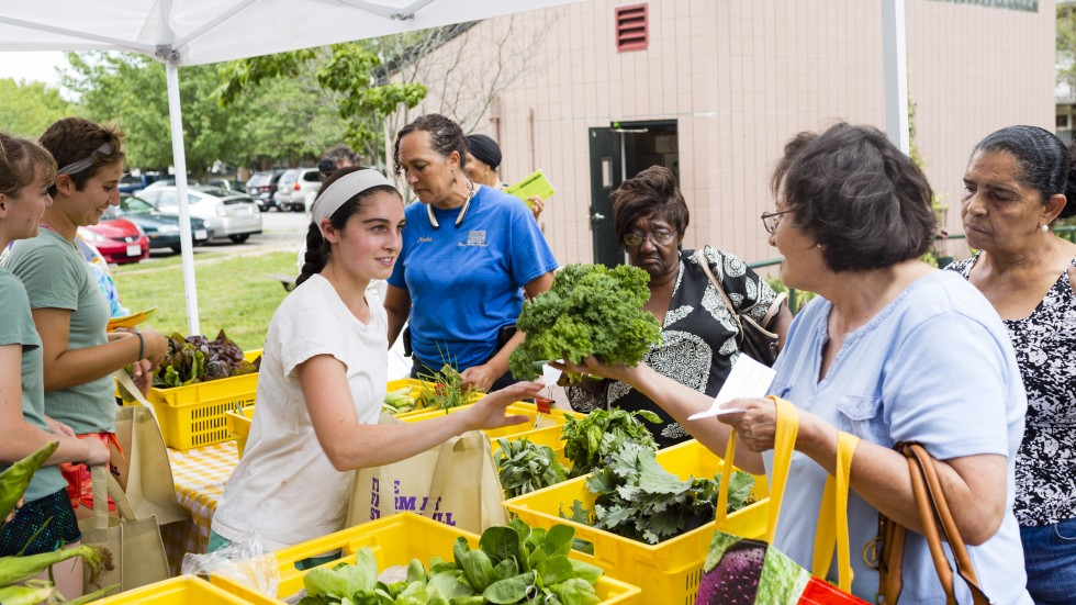 Students at Mobile Market