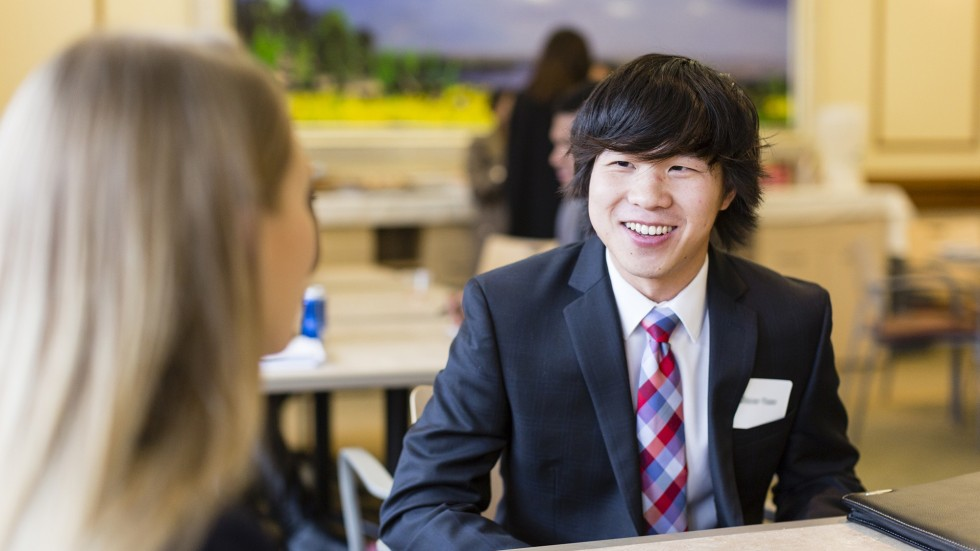 Student in an interview