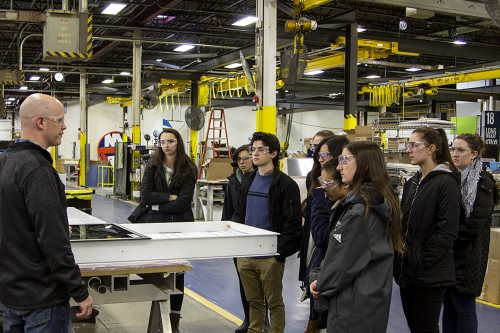 Nine Stonehill students visit Design Communcations Ltd.