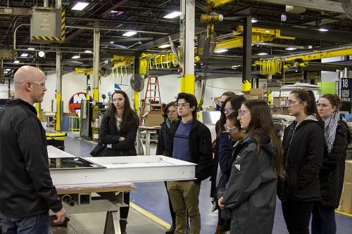 Nine Stonehill students visit Design Communcations Ltd.