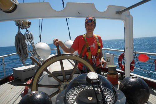 Kate Morneault '15 on ship during SEA semester