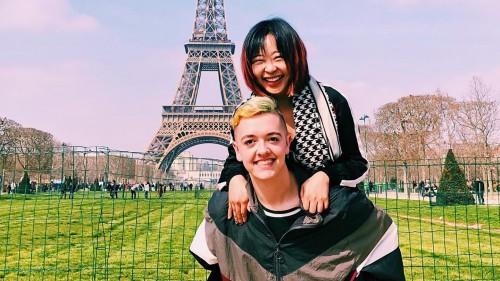 Danny Haffel '18 in front of Eiffel Tower