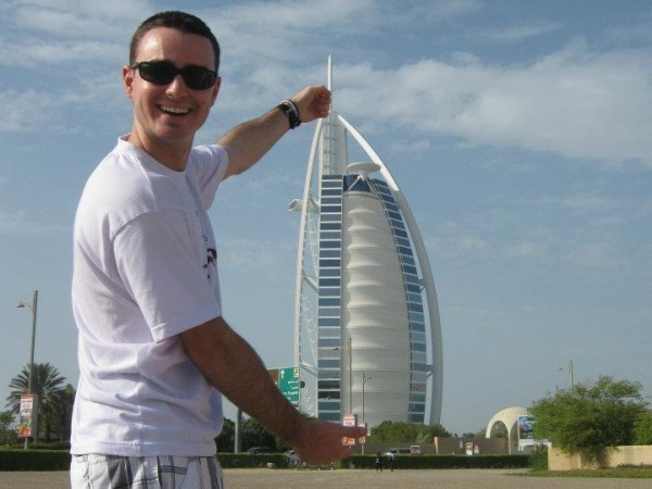 Nick Creedon '13 pictured in front of Burj Al Arab, a hotel in Dubai, United Arab Emirates