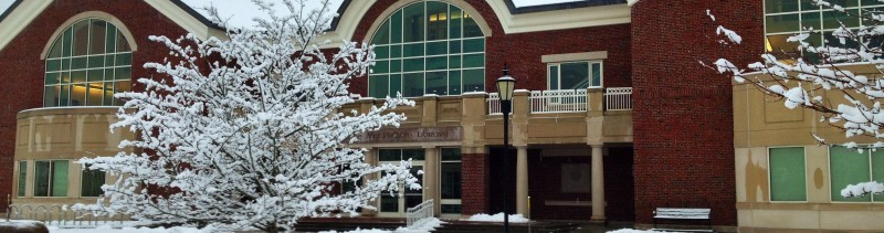 Front of library in the snow