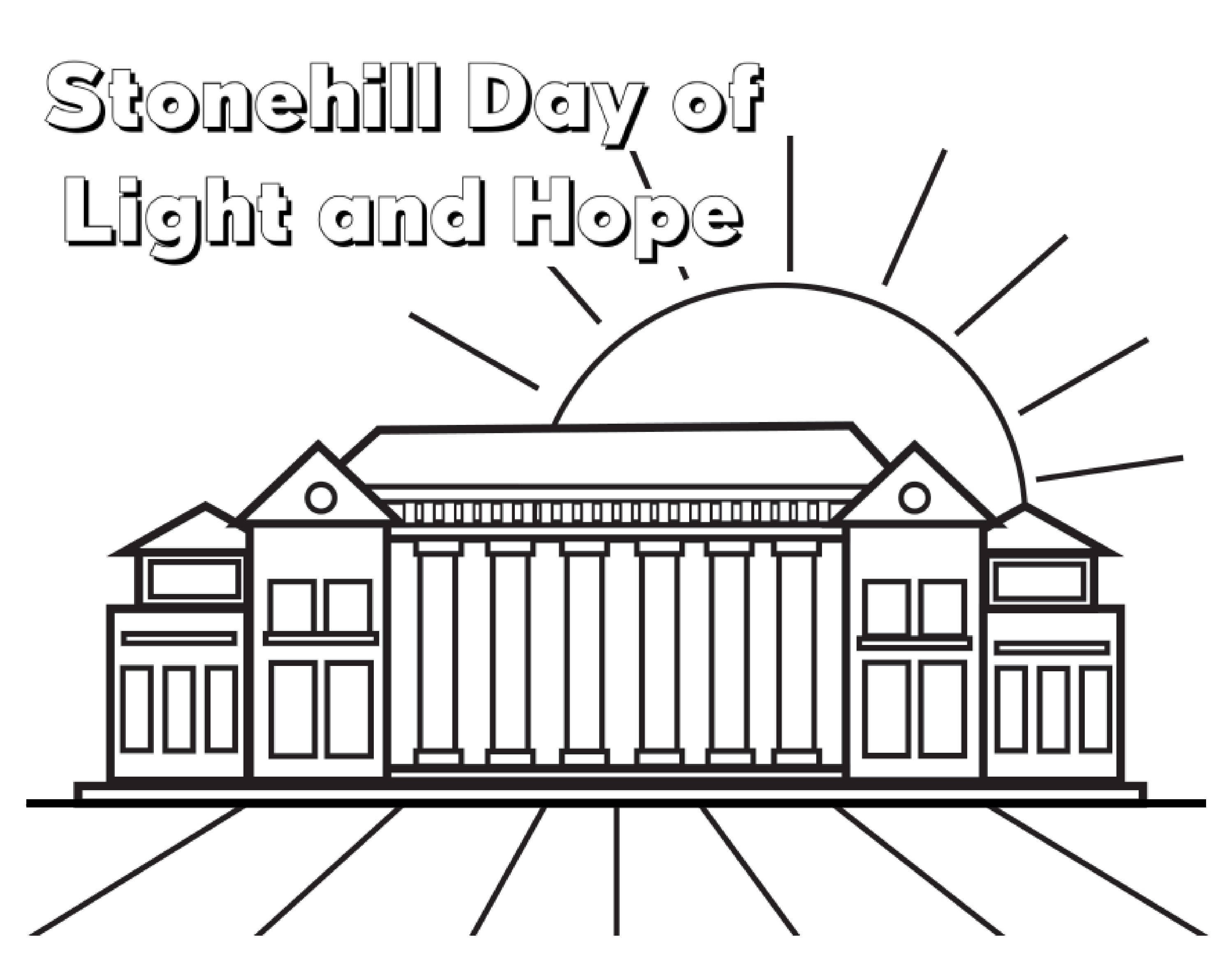 Donahue Hall outline with wording Stonehill Day of Light and Hope