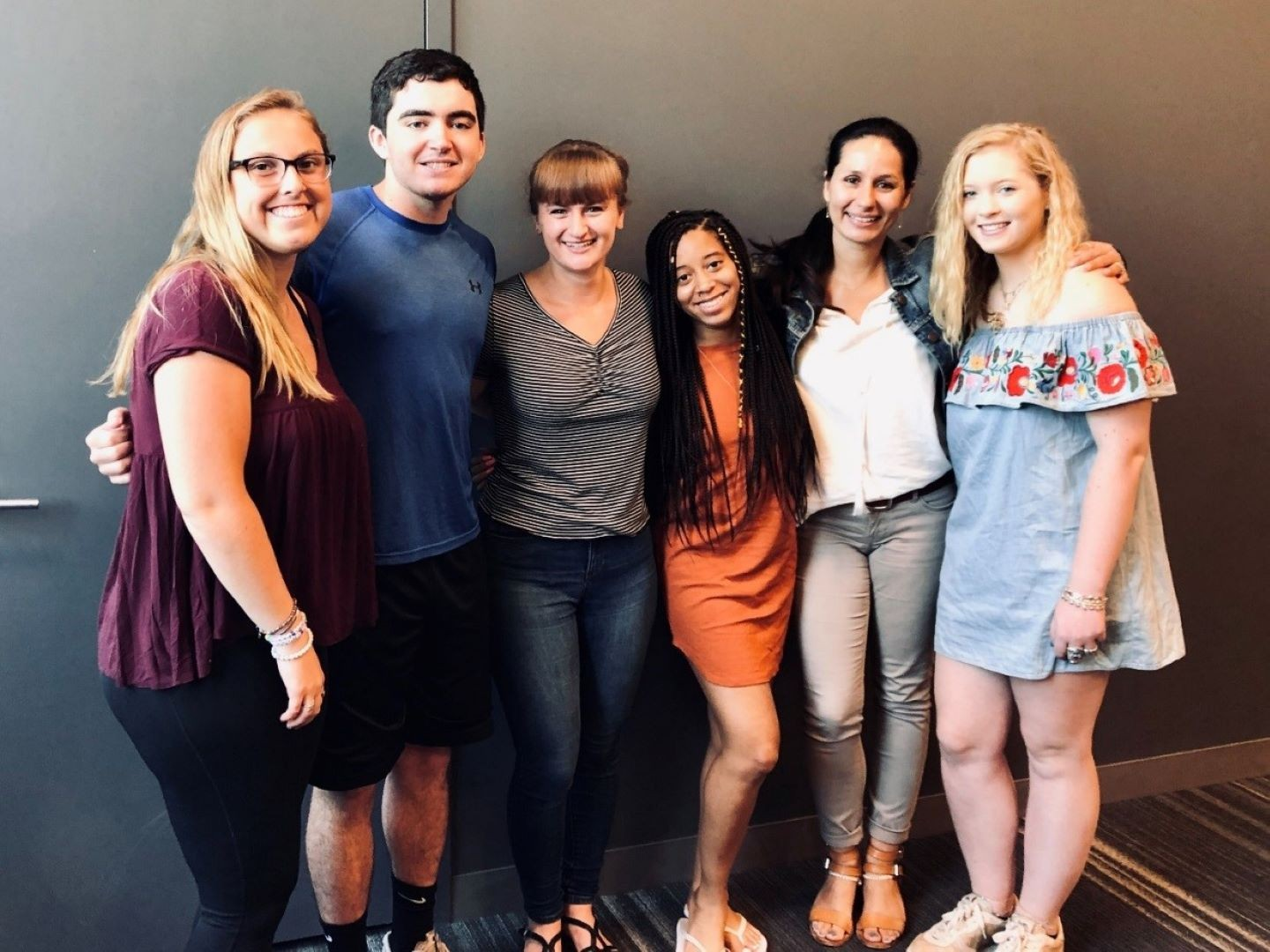 2019 Student SURE Team Project. Pictured left to right: Molly Parent '20, Keelan Hynes '20, Renee Radavich '20, Jadaiya Stanley '20, Professor Anamika Twyman-Ghoshal and Kayla McKeon, Amherst College '22