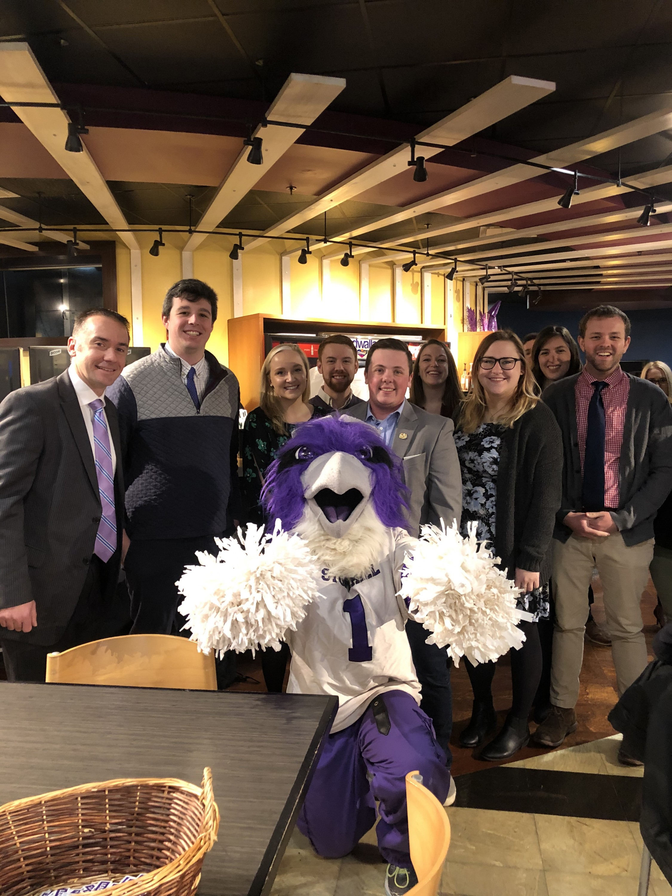 Ace the Skyhawk joins alumni and students for the Think. Act. Lead Conference